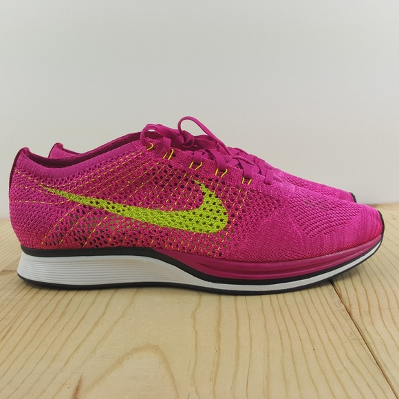 ... nike flyknit racer size 13 fireberry volt pink
